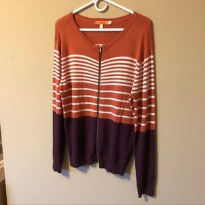 One A | Striped color-block zip-up sweater